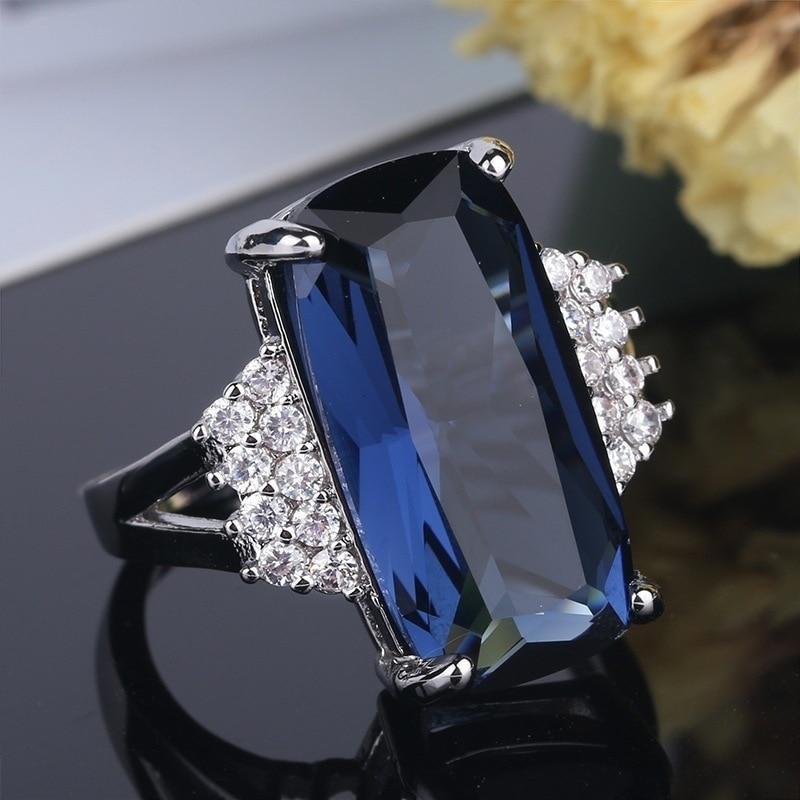 a9055047280b Anillos de plata Vintage de circonita CZ azul grande para las mujeres de  moda anillo de joyería de compromiso de boda tamaño 5 6 7 8 9 10 11 12 ...