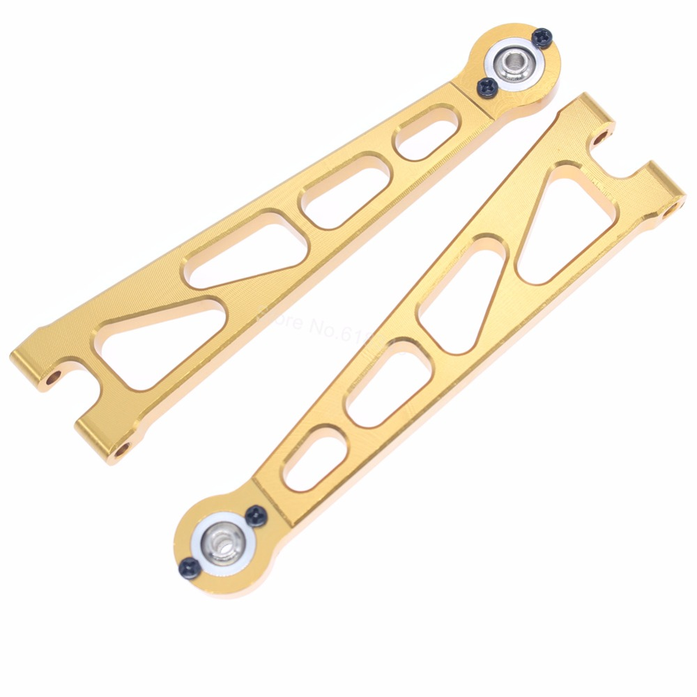 Aluminum Front Upper Suspension Arm (L/R) For 1:10 Electric Himoto E10MT E10MTL Bowie Monster Truck Upgrade Parts 33601G 31602 4pcs spare 511046 suspension arm screw shaft for fs racing 53810 big foot truck