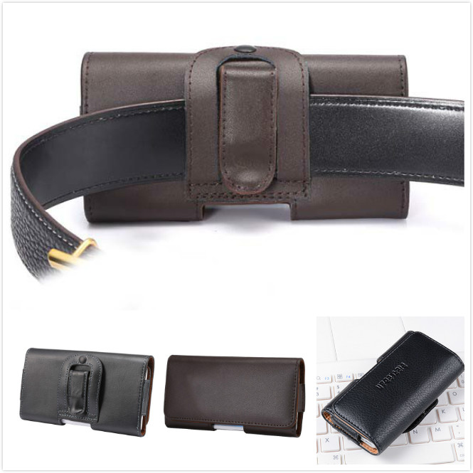 Luxury Genuine Leather Men Waist Bag Clip Belt Pouch Mobile Phone Holster Case Cover for Microsoft Nokia Lumia 950