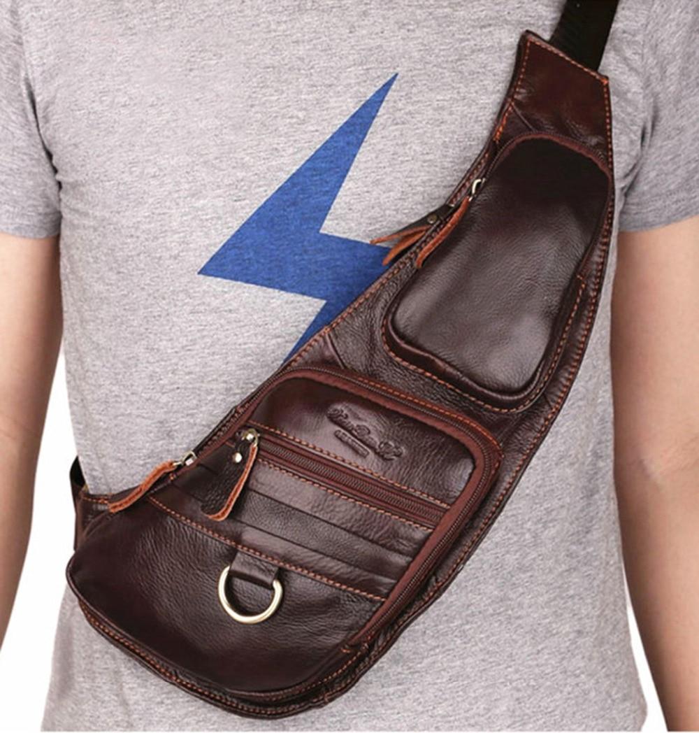 100% ægte læder ægte hud retro mænd skulderbags taske mærke - Håndtasker - Foto 1