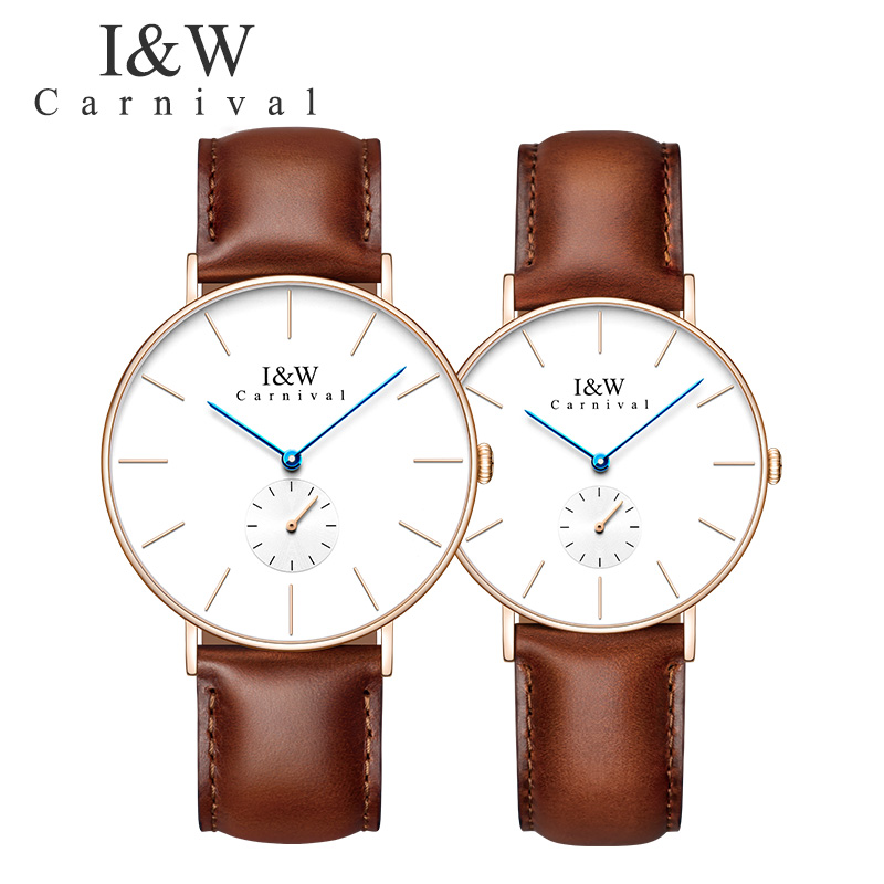 Carnival New Simple Unisex Watch Top Brand Quartz Watches Couple Watches Ultrathin Small Second Pin Waterproof Sapphire Fashion