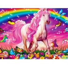 Promosi Baru Penuh DIY Berlian Lukisan Pelangi Di bawah Pola Kuda Lintas Imitasi Mosaik Rumah Kamar Tidur Dekorasi