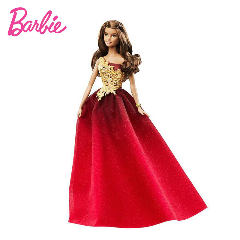 Original Barbie Doll 2016 Holiday Ethnic Collectible Barbie Dolls Barbie Princess Toy Colletor Model Birthday Gift for Girl Red hatber optimum barbie the pearl princess 20627