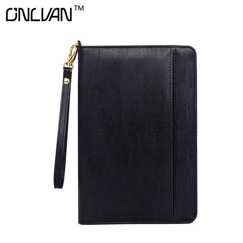 2017 Business Padfolio PU Portfolio Leather Conference Document Holder with 4000 mAh Power Pockets Office Stationary Products business padfolio portfolio with letter size writing notepads deluxe executive vintage brown leather padfolio new