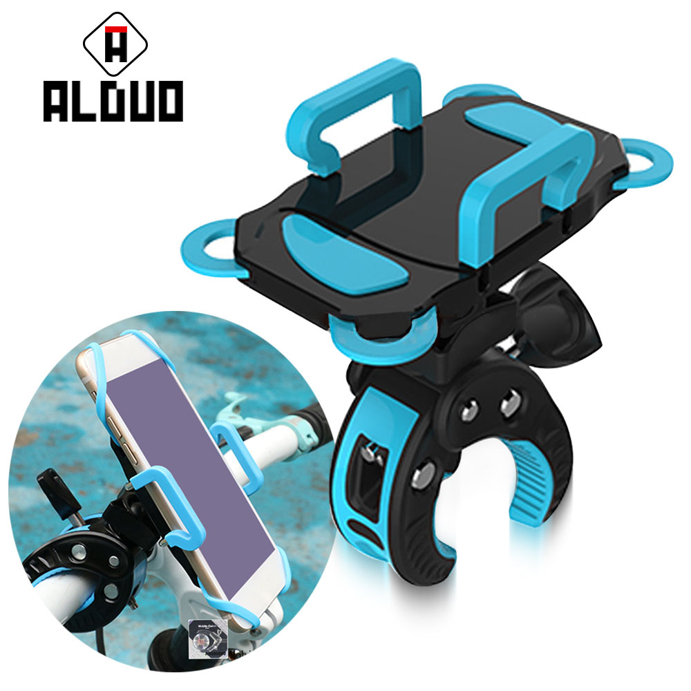 ALANGDUO Bike Phone Mount <font><b>Holder</b></font> Universal 360 degree Rotate Mobile Phone Stand Support Phone For <font><b>iPhone</b></font> 7 6 For Samsung
