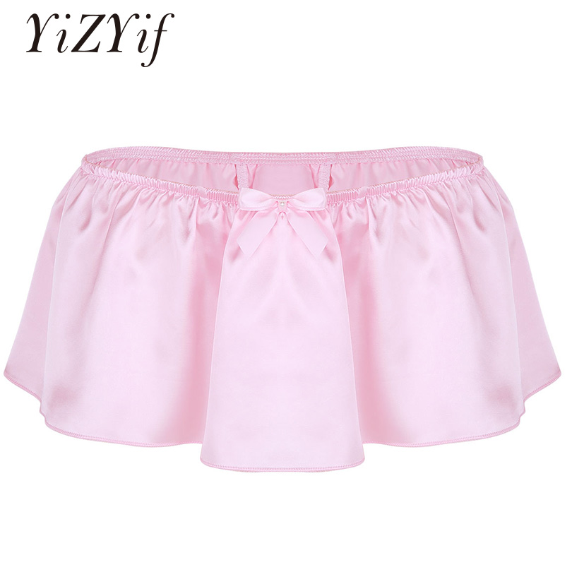 YiZYiF Sissy Boxer Shorts Mens Underwear Sissy Skirt Gay Soft Shiny Culotte Homme Satin Boxer Panties Sexy Lingerie Men Skirt