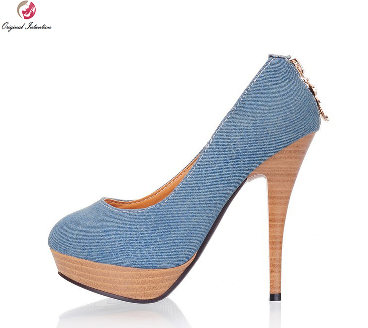953a07fac7f Original Intention Women Pumps Fashion Denim Platform Thin Heels Pumps  Stylish Blue Light Blue Shoes Woman US Size 4-10.5