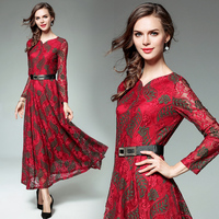 Women S Clothing 2018 New Spring Autumn Fashion V Neck Belt Lace Dress Vintage Flowers Emboridery