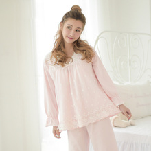 Free Shipping Spring New Long-Sleeve Cotton Women's Pajamas Sets Sleepwear 2 Piece Set Sweet Lace Princess Female Home Clothes
