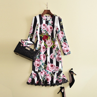 HIGH QUALITY New 2017 Designer Runway Women S Transparent Long Sleeve Charming Floral Embroidery Gauze Maxi