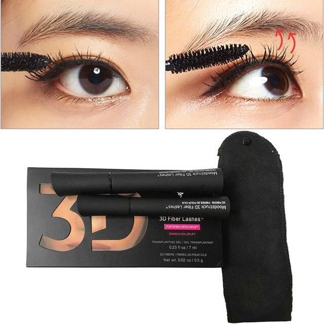 Fiber Black Mascara 3d 2pcsset Natural Professional Waterproof CordxBeW