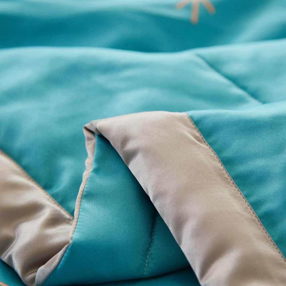 2019 Cây In Màu Xanh Màu Xanh Lá Cây Mùa Hè Mỏng Chăn điều Hòa Không Khí Khâu Comforter Satin Polyester Vải Polyester Đôi Kích Thước Nữ Hoàng