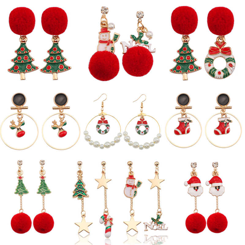 Christmas Tree Wreath Crutch Gift Box Santa Claus Snowman Deer Earrings For Women Big Long Tassel Round Circles Earings Jewelry