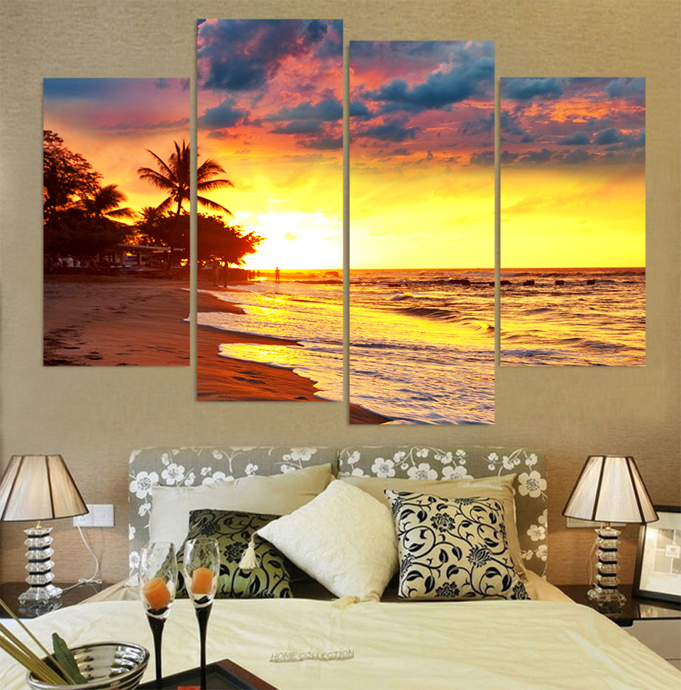4 Piece Canvas Art Canvas Painting Sunset Coast Palms HD Printed ...