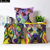 Linen Dog Cushion Cover 45 45cm Siberian Husky German Sherpherd Pillow Cases Pillowcase Bedroom Home Decor