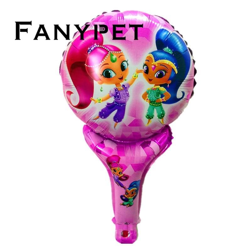 Shimmer Shine 12pcs Handheld Balloons Cute Cartoon Princess Foil