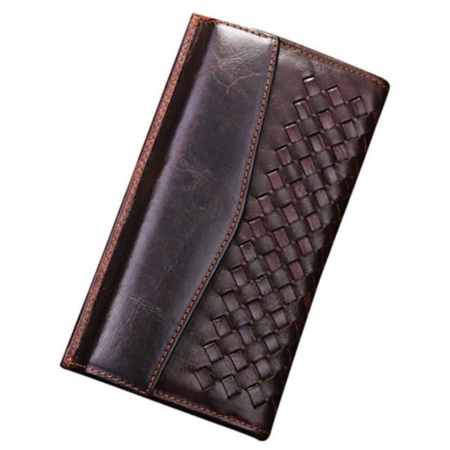 Billetera Vintage de cuero genuino para hombre, billetera para hombre con Clip para dinero, billetera de cuero para hombre, bolso de mano de estilo largo, monedero para hombre