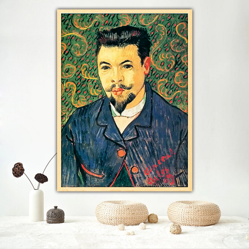 Van Gogh doctor felix rey bust diy by numbers art paint impressionist paint adult hand drawing living room decoration on canvas
