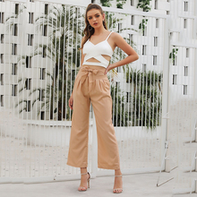 2018 spring summer new hot wide leg pants fashionable solid color high waist full trousers women girl long 80988