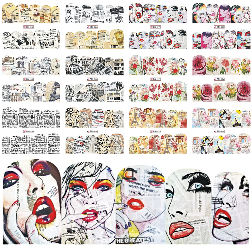 12 Designs Newspaper Nail Stickers Beauty Wraps Water Transfer Nail ...