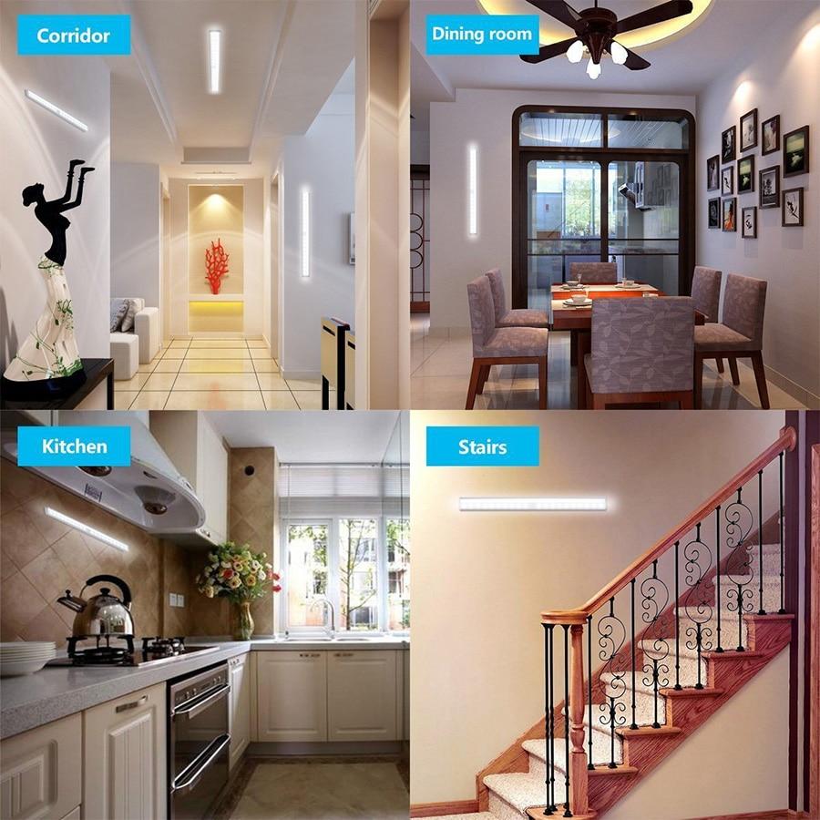Купить с кэшбэком LED Under Cabinet Light Auto PIR Motion Sensor LED Cabinet Closet Light Home Kitchen Counter Cupboard Puck Shelf Lamp Led Blubs