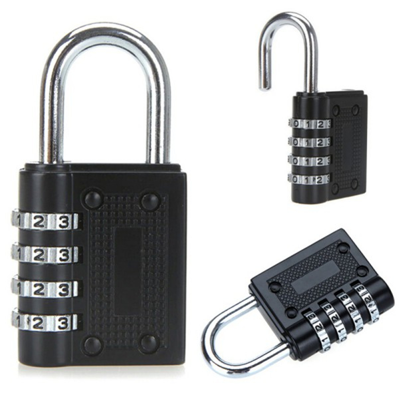Safe Suitcase Luggage 4 Dial Digit Combination Metal Code Password Lock Padlock ...