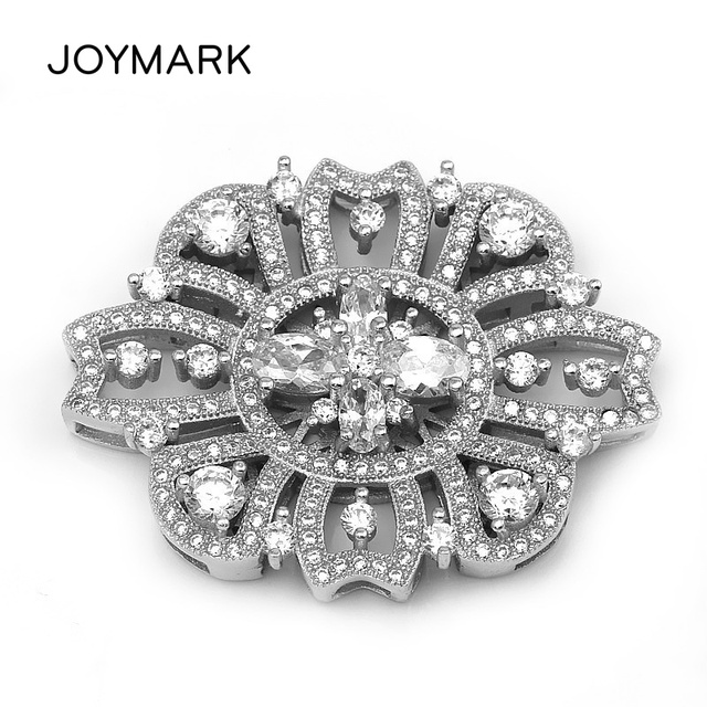 New Multi-Row Flower Shape 925 Sterling Silver Zircon Micro Pave Pearl Necklace Jewelry Link Connectors SLJQ-CZ002