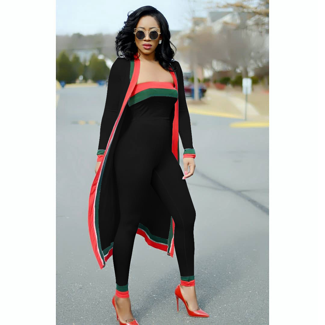 2018 Spring  Summer Red And Green Strape Stitching Wrapped Chest Tights 3 Pieces Contigt Sets S628 by Oln