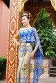 Asia Sur-oriental Laos Tailandia azul desgaste Mitigado ropa tradicional ropa mantillas femenino azul marino sin mangas de un hombro
