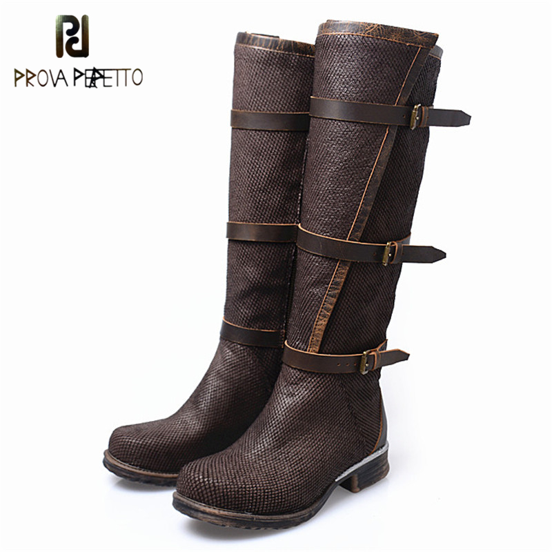Prova Perfetto British Style Elegant Cow Genuine Leather Patchwork Buckle Strap Woman Boots Round Toe Low Heel Knee High Boots prova perfetto british style elegant sheep genuine leather ankle buckle hollow out flower boots back strap chunky high heel boot