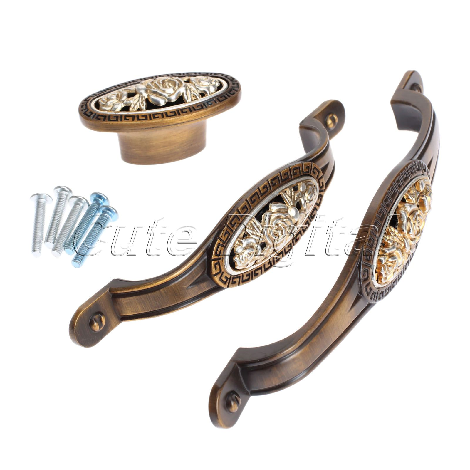 Vintage Flower Alloy Door Handles Cabinet Drawer Wardrobe Closet Pull Handle Furniture Decorative Knobs Single Hole/96mm/128mm