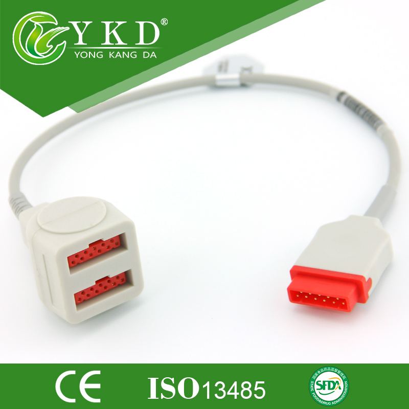 GE-Marqutte Pressure transducer adpter Durable cable,IBP cable,medical accessories free shipping compatible for drager 8060 to abbott transducer ibp adapter cable red 10pin ibp cable tpu patient monitor cable