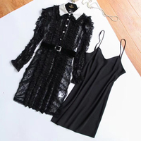 Summer Black Floral Lace Dresses Hollow Out Dress For Female Luxury Turn Down Collar Mini Party Dress High Quality