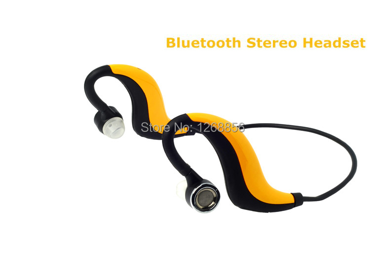 ФОТО 2 pcs/lot Yellow color Universal Wireless Sports Bluetooth Stereo headset Water Resistant Handsfree earphone Free Shipping