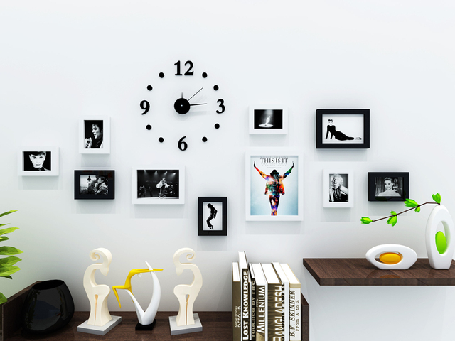 Black Solid Wood Wall Frame Set Photo Wall Clock Decal And Picture Frames  Kit