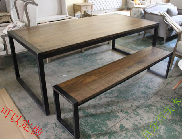 Loft American French Country Style Solid Wood Wrought Iron Benches Long Dining Table To Do The Old Special Off