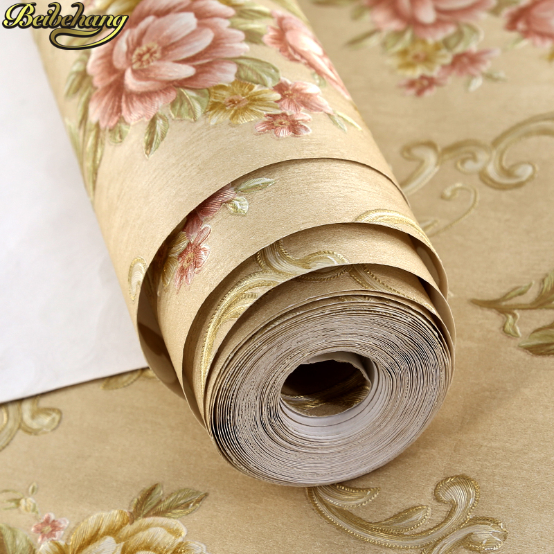 beibehang papel de parede 3d Victorian Damask wallpaper roll TV background Embossed flowers wall papers home decor living room beibehang papel de parede 3d non woven wall paper roll embossed idyllic romantic bedroom living room tv background wallpaper