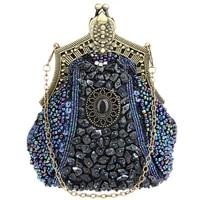 2018 New Sale Woman Vintage Heavy Beaded Banquet Bag Wedding Party Purse Handbag Chain Shoulder Bags Luxury Bead Decoration Bags