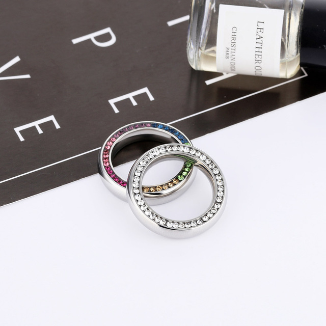 Lokaer Luxury Sparkling Cubic Zirconia Wedding Rings For Women Pave Rhinestone Statement Bands Female Valentines's Gift LGJ595
