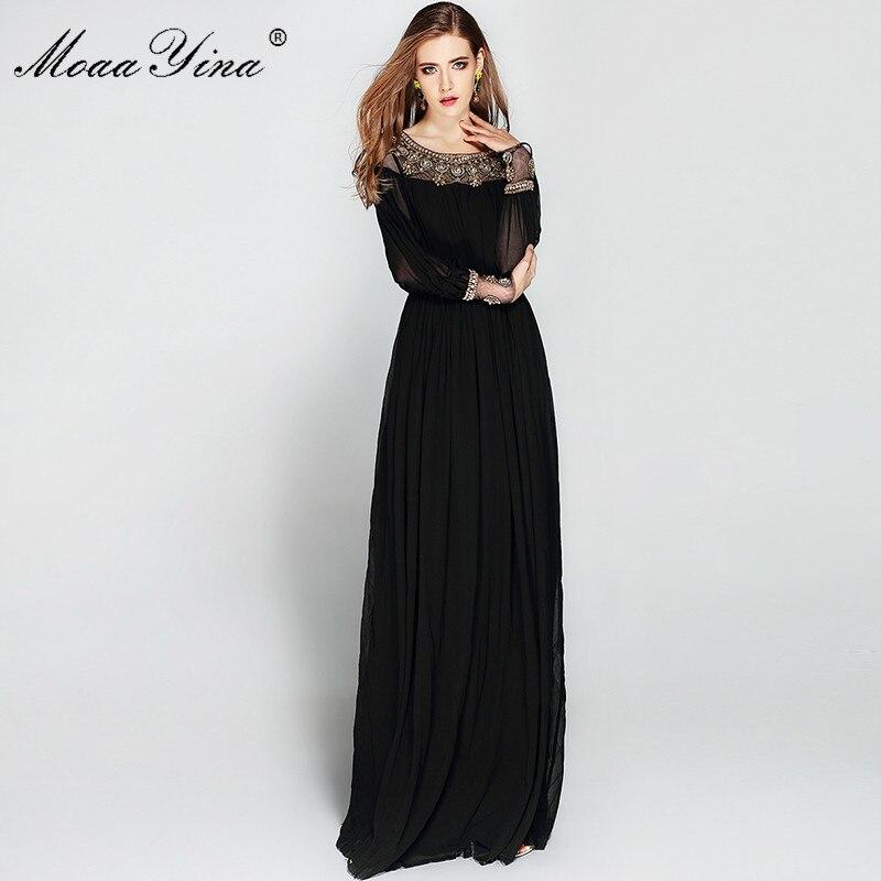 MoaaYina Vintage élégante robe noire femmes à manches longues O cou luxe Voile perles longueur de plancher robes de soirée automne longue robe