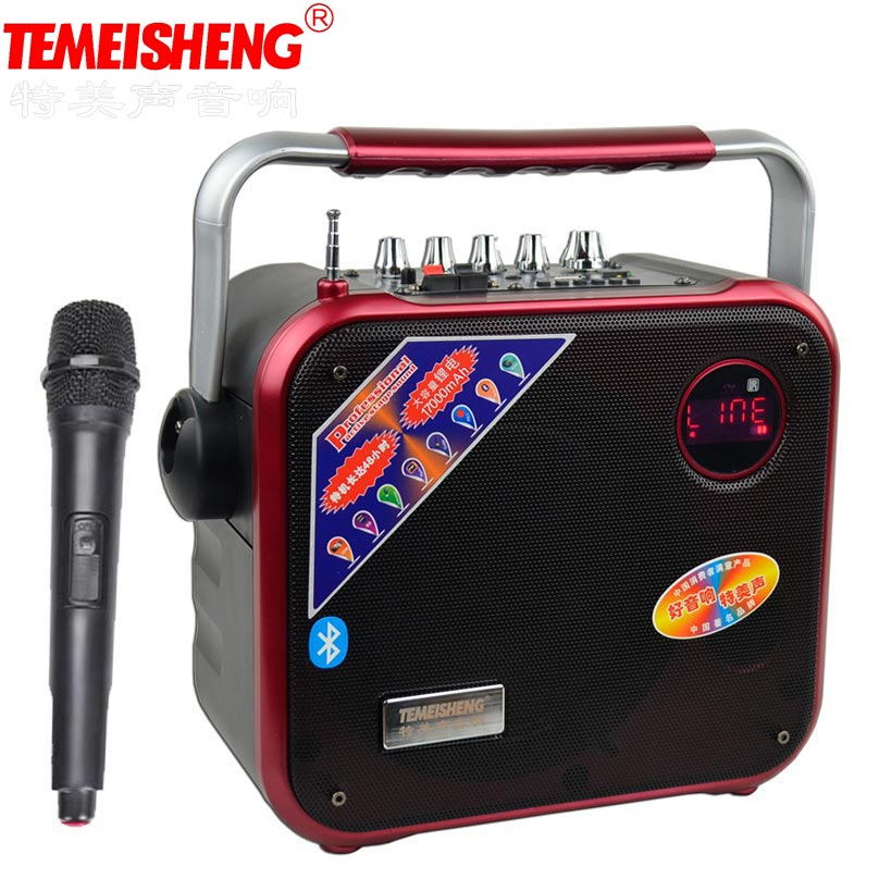 TMS A83 High Power 30W Portable Loudspeaker With Wireless Microphone Outdoor Soundbox Bluetooth Speaker USB Disk And Mp3 Player
