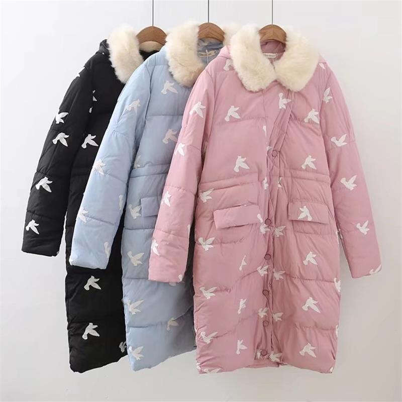 4XL Plus size womens long jackets birdie Embroidered long winter jacket women 2017 fashion Slim waist casaco feminino charter club 0605 womens cotton animal print embroidered blouse top plus bhfo