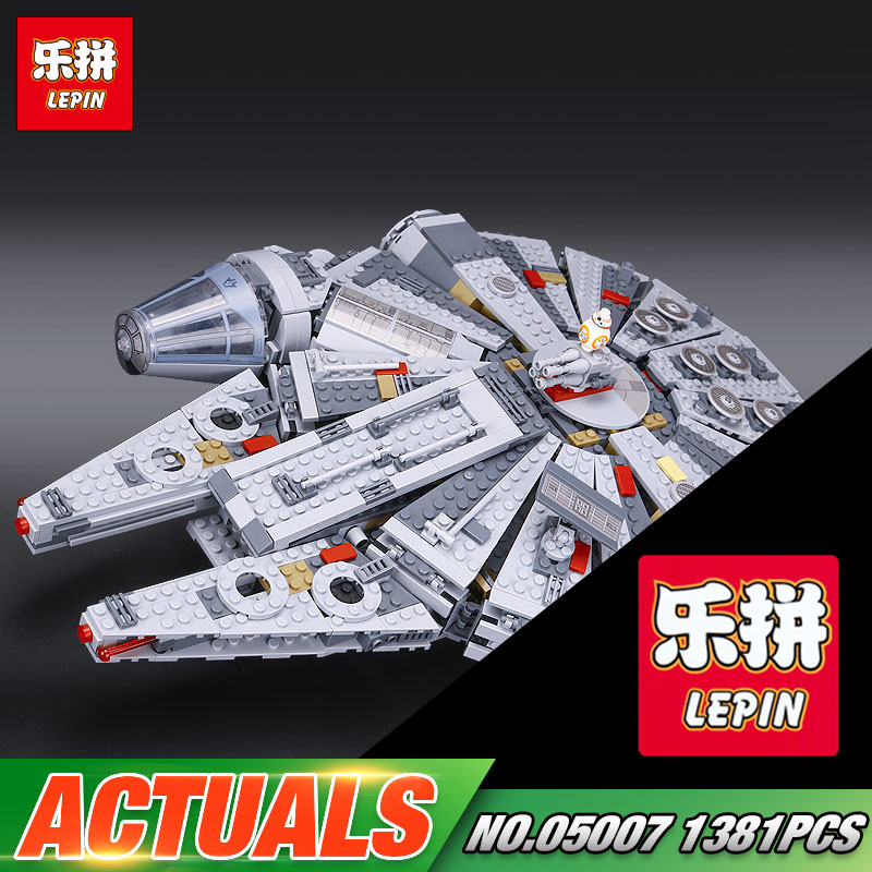New LEPIN 05007 Star Series War 1381pcs Building Blocks Force Awakens Millennium Toys Falcon Model Kids Christmas Gits 10467