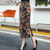 中国の伝統的なヴィンテージ女性スカート春刺繍鉛筆プリント猶予エレガントチュニック足首の長さ女性スカートAA3258 f