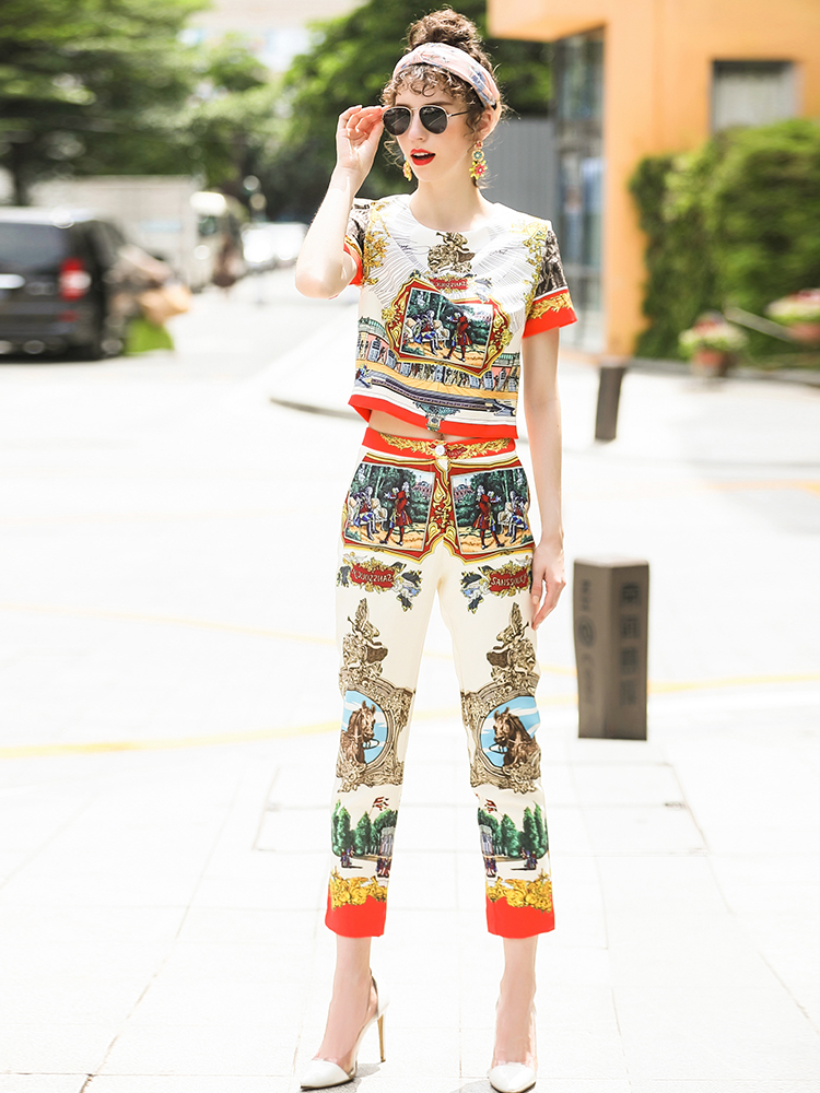 Brand runway Two set woman clothing 2018 clothes bohemian summer suits for women female set house t-shirt and track pants women