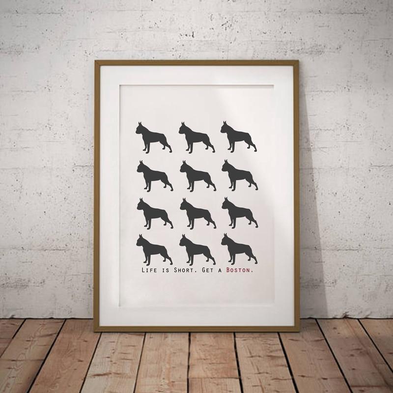 Boston Terrier Dog Leinwand Malerei Poster Wandkunst dekors, moderne ...
