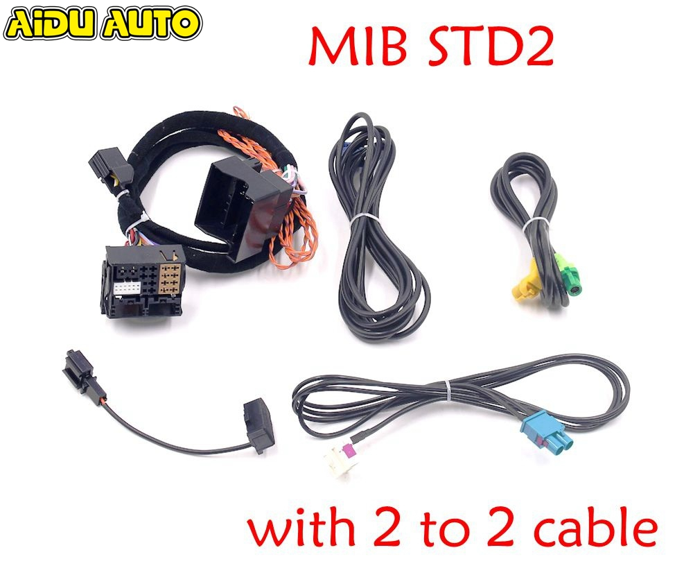 MIB STD2 ZR NAV Discover Pro Radio Adapter Cable Wire harness with 2 to 2 cable For Golf 7 MK7 Passat B8 Tiguan MQB CAR