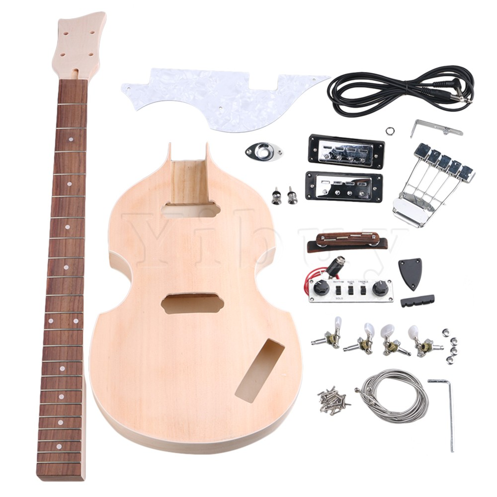 Yibuy  Maple DIY 4 String Electric Guitar Bass Body Neck Fingerboard Humbucker with Tuning Pegs UnFinished Suit Accessories belcat bass pickup 5 string humbucker double coil pickup guitar parts accessories black