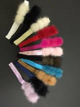 Повязка для волос из норки разноцветные повязки девочек с помпоном