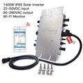 Wi-fi sem fio 2.4G IP65 1400W MPPT do Laço Da Grade Micro Inversor Solar, 22-50VDC para 80-260VAC, hz ~ 64 45Hz, Monitor Móvel